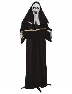 Grusel-Nonne-Figur Halloween-Partydeko schwarz-weiss 165 cm