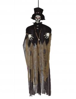 Voodoo-Dekofigur Mann mit Leuchteffekt Halloween-Deko schwarz-braun-weiss 120 cm
