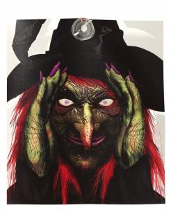 Spanner-Hexe mit Lichteffekt Halloween-Partydeko bunt 28x31 cm