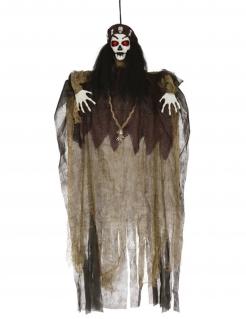 Voodoo-Dekofigur mit Leuchteffekt braun-schwarz-weiss 120 cm