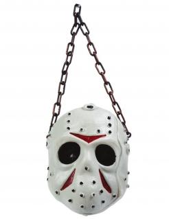 Hockey-Maske Dekoration Halloween-Deko weiss-rot-grau 36 cm