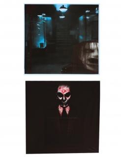 Fenster-Deko lebende Tote Halloween-Partydeko 2 Stück schwarz 45x45 cm