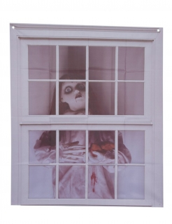 Puppen-Fensterdeko Halloween-Dekoration grau 75x90 cm