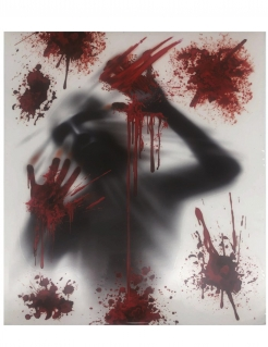 Blutige Fenster-Dekoration Partydeko Halloween grau-rot 30x40 cm