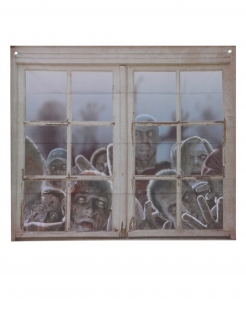 Zombie-Fensterdeko Partydeko Halloween grau 80x90 cm