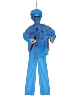 Chirurg-Dekofigur mit Sound Halloween-Partydeko blau-rot 100 cm