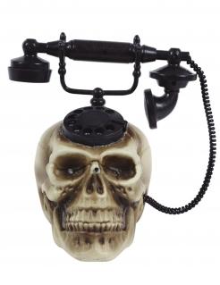 Totenkopf-Telefon mit Animation und Sound Halloweendeko beige-schwarz
