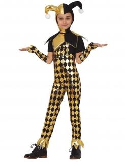 Goldenes Harlekin-Kostüm für Mädchen Faschingskostüm schwarz-gold