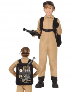 Geisterfänger-Kostüm für Kinder mit Rucksack Halloween-Kostüm braun-schwarz