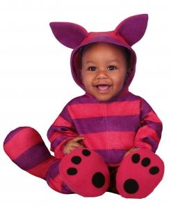 Gestreifte Katzen-Kostüm für Babys Faschingskostüm pink-violett