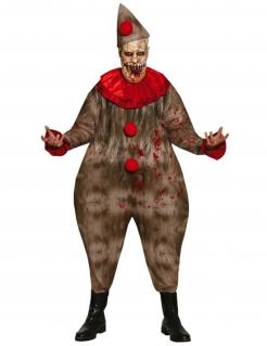 Creepy Clown-Kostüm für Herren Horrorclown Halloweenkostüm braun-rot