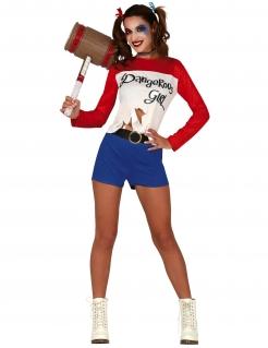 Dangerous Girl Kostüm für Damen Faschingskostüm blau-weiss-rot