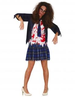 Zombie-Schülerin Damenkostüm Halloween-Kostüm blau-weiss