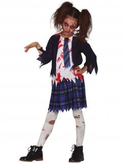 Wandelnde Tote-Kostüm für Mädchen Highschool-Schülerin Halloween blau-weiss-schwarz