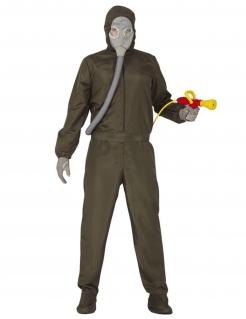 Schädlingsbekämpfer-Kostüm für Herren Halloweenkostüm grün-grau