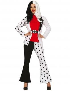 Dalmatiner-Lady Damenkostüm Faschingskostüm schwarz-weiss-rot
