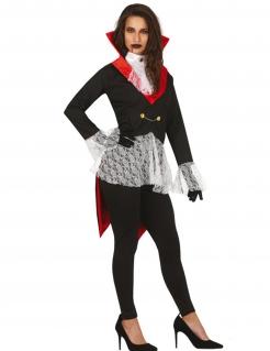 Vampir-Kostüm für Damen Gotisches Halloween-Kostüm schwarz-rot-weiss