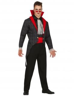 Gothic-Vampir-Kostüm für Herren Halloweenkostüm schwarz-rot