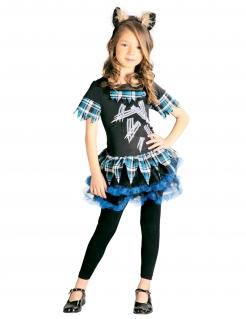 Werwolf-Kostüm für Mädchen Halloweenkostüm schwarz-blau