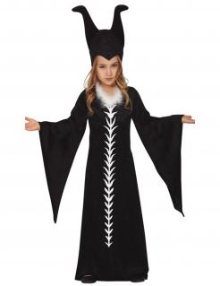 Raben-Zauberin Kostüm für Mädchen Hallloweenkostüm schwarz-weiss
