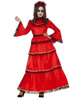 Mexikanisches Día de los Muertos-Kostüm für Damen Halloween-Kostüm rot-schwarz