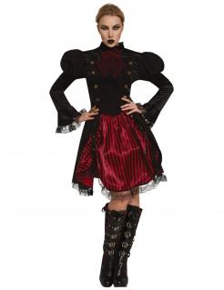 Miss Steampunk-Damenkostüm Halloweenkostüm schwarz-rot