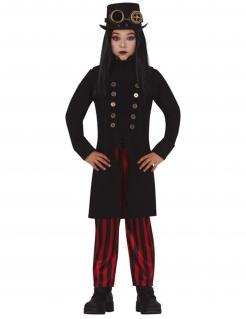 Miss Steampunk-Kostüm für Mädchen Halloween-Kostüm schwarz-rot