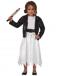Killerpuppen-Kostüm für Mädchen Halloweenkostüm weiss-schwarz