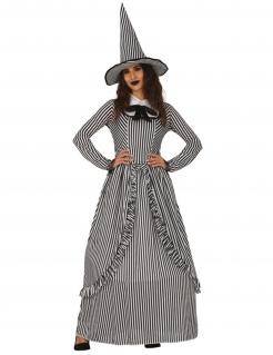 Vintage-Hexenkostüm für Damen Halloweenkostüm schwarz-weiss