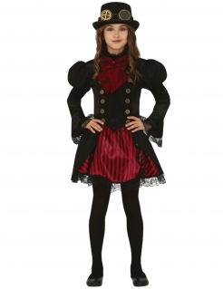 Steampunk-Kostüm für Mädchen Faschingskostüm schwarz-rot