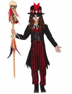 Voodoo-Kostüm für Mädchen Halloweenkostüm schwarz-rot