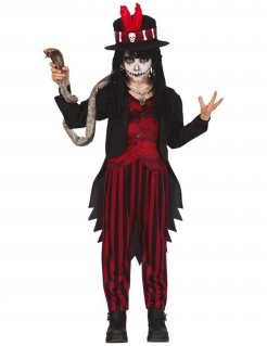 Voodoo-Kostüm für Jungen mystisches Halloweenkostüm schwarz-rot