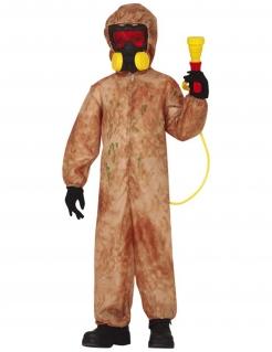 Strahlenanzug für Jungen gegen Radioaktivität Halloween-Kostüm braun-gelb