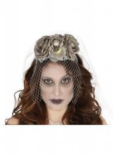 Blumen-Diadem mit Rosen für Damen Halloween-Haarschmuck grau