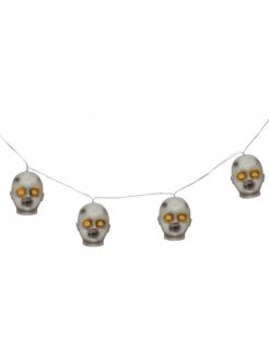 Lichterkette mit Köpfen Halloween-Partydeko grau-gelb 100 cm