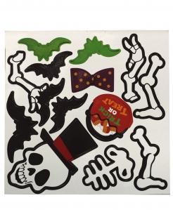 Skelett-Magneten Partydeko Halloween schwarz-weiss-grün 25x25 cm