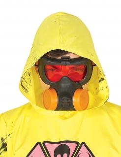 Gasmaske für Erwachsene schwarz-rot-orangefarben