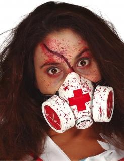 Blutige Gasmaske für Erwachsene Zombie-Krankenschwester weiß-rot-schwarz