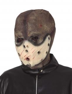Gruselige Hockey-Mörder Halloween-Maske für Erwachsene grau-weiß