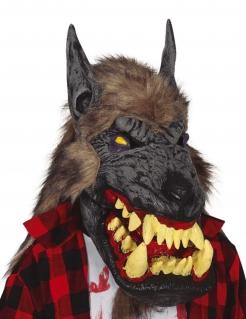 Werwolfmaske mit Riesenmaul für Erwachsene bunt