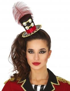 Tag der Toten-Minihut für Damen Halloween-Accessoire schwarz-rot