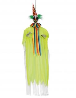 Gruseliger Deko-Clown Hängefigur Halloween-Partydeko gelb-bunt 153 cm