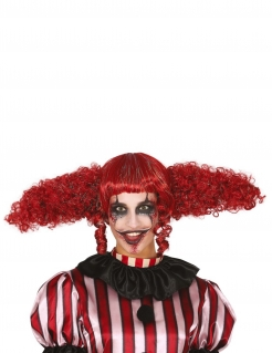 Clown-Perücke für Erwachsene mit riesigen Zöpfen Halloween-Accessoire rot