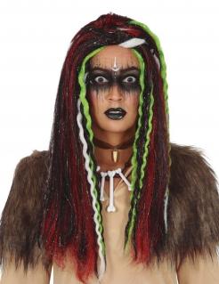 Voodoo-Perücke für Erwachsene Halloween-Accessoire schwarz-rot-grün