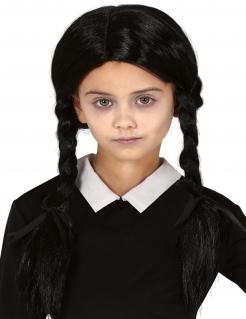 Zopf-Perücke für Kinder Halloween-Kinderperücke schwarz