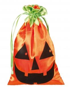 Kürbis-Tasche Accessoire Halloween orange-schwarz-grün 20x12 cm