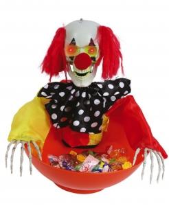Horrorclown-Schüssel mit Licht und Sound Halloween-Partydeko bunt
