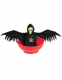 Schüssel mit Licht und Sound und Sensenmann Halloween-Partydeko rot-schwarz