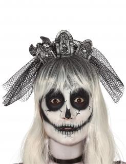 Gotischer Friedhofs-Haarreif für Damen Halloween-Accessoire schwarz-grau