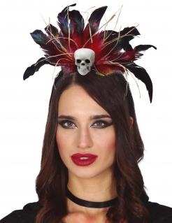 Voodoo-Kopfschmuck für Damen Halloween-Accessoire schwarz-rot-weiß